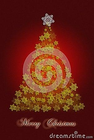 De groetkaart van de kerstboom