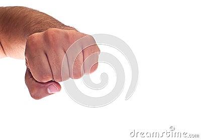 De hand met klemde een vuist dicht