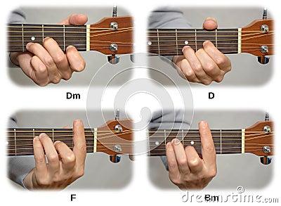 De hand van de gitarist het spelen gitaarsnaren: DM, D, F, BM