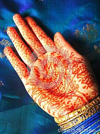 De hand van de henna