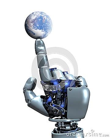De hand van de robot en de Bol van de Aarde