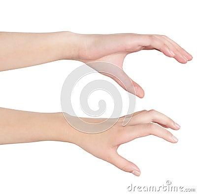 De hand van de vrouw