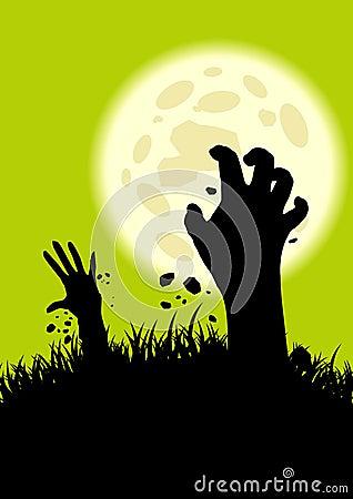 De handen die van de zombie omhoog komen