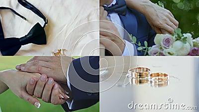 4 in 1: De handen van een echtpaarholding na huwelijk stock videobeelden