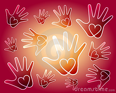 De handenachtergrond van het hart