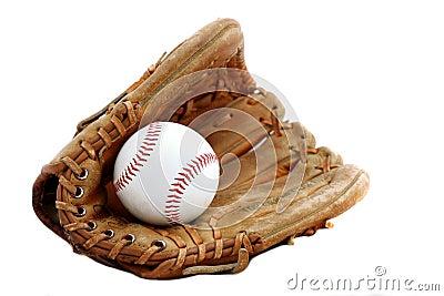 De handschoen en de bal van het honkbal