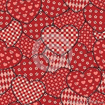 De harten naadloos mooi patroon van het lapwerk.