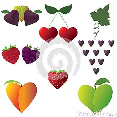 De harten van het fruit