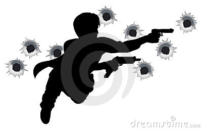 De held van de actie in het silhouet van de kanonstrijd