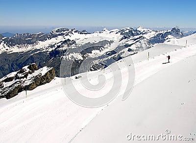De helling van de ski