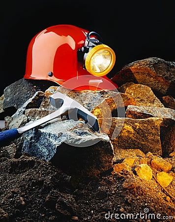De helm van de mijnwerker