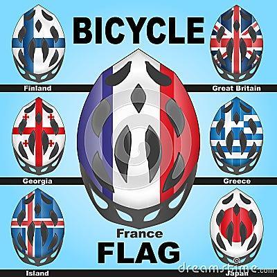 De helmen van de pictogrammenfiets en vlaggenlanden