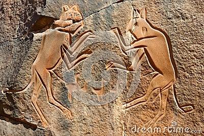 De ?het Vechten Katten die? - Wadi Mathendous graveren