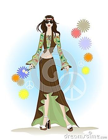 De hippiestijl van de manier
