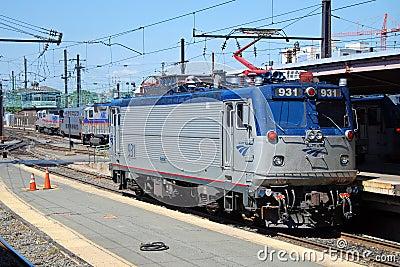 De hoge snelheidstrein Acela van Amtrak Redactionele Foto