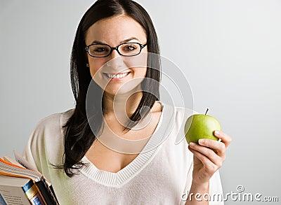 De holdingsappel van de vrouw