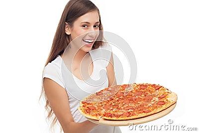 De holdingspizza van de vrouw