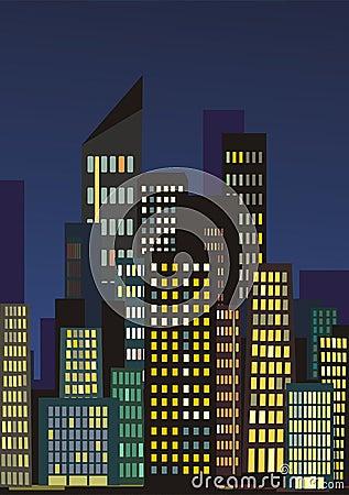 De horizon van de stad bij nacht