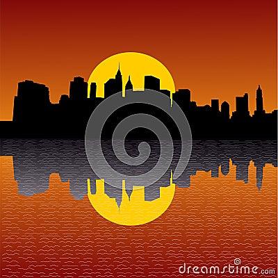 De horizon van Manhattan bij zonsondergang