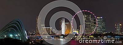 De horizonpanorama van Singapore bij nacht. Redactionele Fotografie