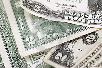 Twee Horizontale Dollarsrekeningen - - Smalle Diepte van Gebied