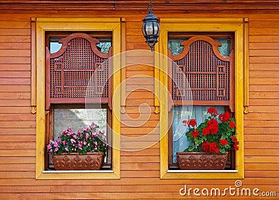 De houten vensters van de ottomane