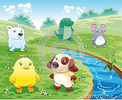 De huisdieren van de baby dichtbij de rivier.