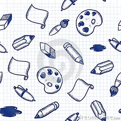 De hulpmiddelen naadloos patroon van de krabbel