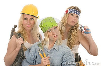 De hulpmiddelen van de bouwdames van de teamcontractant
