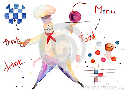 De illustratie van de waterverf van chef-kok