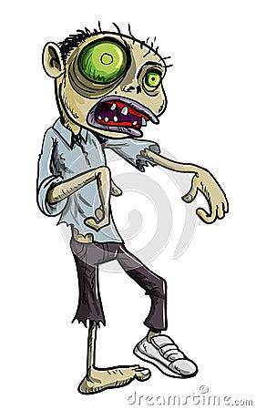 De illustratie van het beeldverhaal van groene zombie