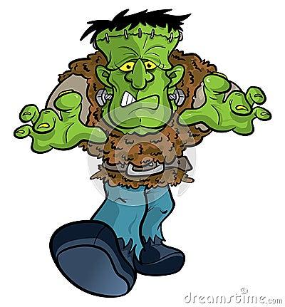 De illustratie van het het monsterbeeldverhaal van Frankenstein