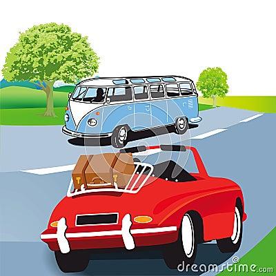 De caravan en de sportwagen van de motor