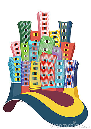 De illustratie van stadsgebouwen