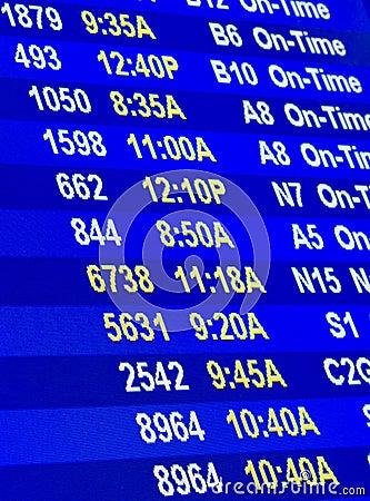 De informatie van de vlucht