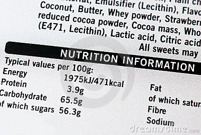 De informatie van de voeding