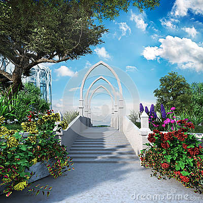 De ingang elven tuin stock illustratie afbeelding 58504978 - Moderne tuin ingang ...