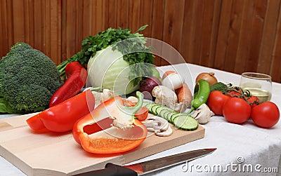 De ingrediënten van de salade