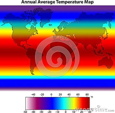 De jaarlijkse Gemiddelde Kaart van de Temperatuur