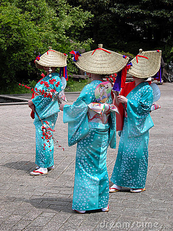 De Japanse vrouwen groeperen zich