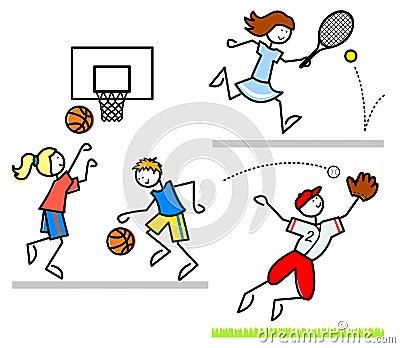 De Jonge geitjes van het Beeldverhaal van sporten