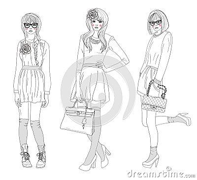 De jonge mooie meisjes vormen illustratie royalty vrije stock afbeeldingen afbeelding 22232949 - Een kamer van een meisje ...