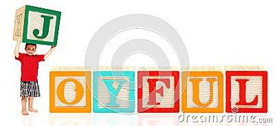 De jongen met Alfabet blokkeert BLIJ
