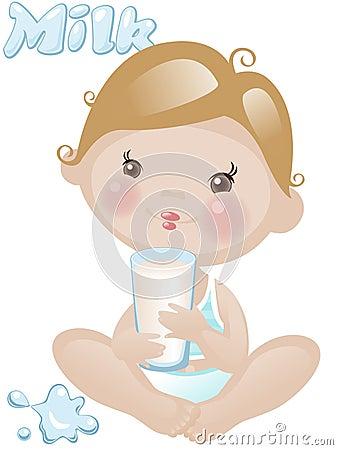 De jongen van de baby met melk