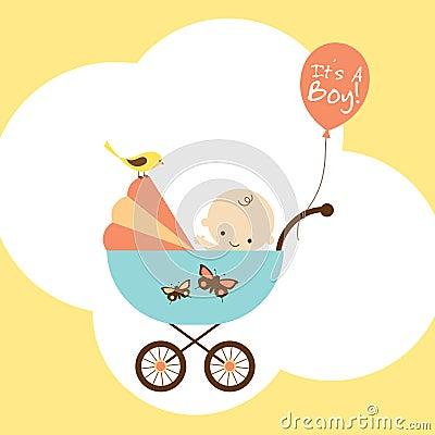 De Jongen van de baby in Wandelwagen
