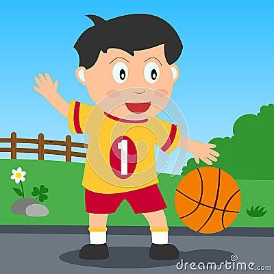 De Jongen van het basketbal in het Park