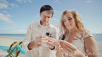 De jonggehuwden, bruidegom en bruid, samen in hun handen zijn prachtig geschilderde vlinders Fabelachtig en magisch stock videobeelden