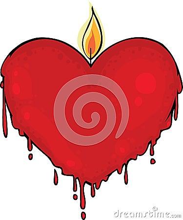 De kaars van de valentijnskaart