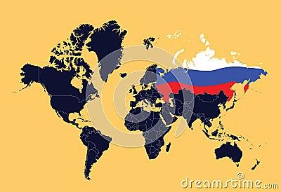 De kaart die van de wereld Russische Federatie toont