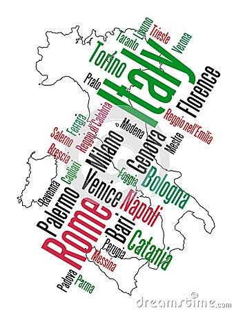 De kaart en de steden van Italië